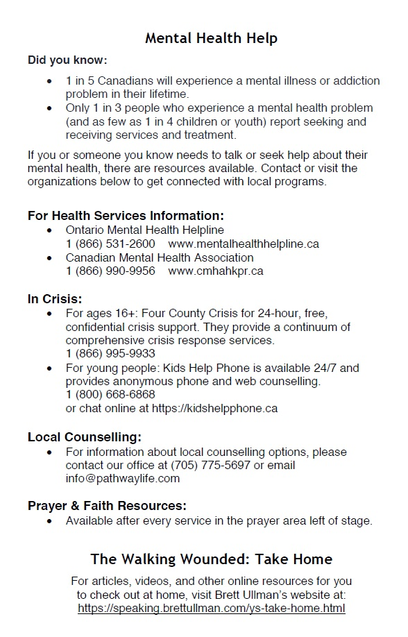 Mental Health Handout Pathway Church Peterborough